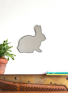 Rabbit Mirror / Handmade Wall Mirror Easter by fluxglass on Etsy, $68.00  #munire #pinparty #MadeinUSA