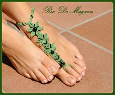 MADE TO ORDER Mint Macrame Barefoot sandal with Black Onyx. Hippie barefoot…
