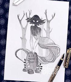 Inktober Art Inspiration & Ideas by Feefal Creepy Drawings, Dark Art Drawings, Creepy Art, Art Drawings Sketches, Cool Drawings, Fantasy Drawings, Tattoo Sketches, Cartoon Drawings, Character Art