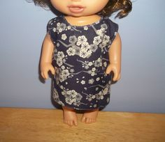 Baby 12 inch Alive doll handmade dress purple with off white flowers by sue18inchdollclothes on Etsy
