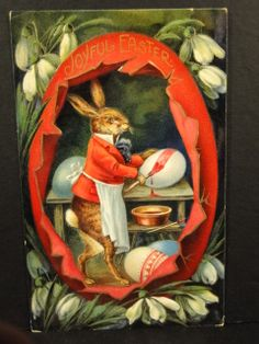 Fabulous Germany Postcard Fantasy Easter Rabbit Dressed Painting Eggs
