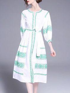 White Balloon Sleeve Crew Neck Embroidery Midi Dress