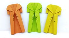 Origami Coat instructions - How to make a Paper Coat Origami Butterfly Easy, Instruções Origami, Origami Yoda, Origami Videos, Origami Dress, Origami Envelope, Origami Ball, Origami Dragon, Origami Bookmark