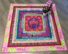 """Large 14"""" center square surrounded with simple 2"""" strips, finished off with that awesome Lille fabric border! Panel Quilts, It Is Finished, Fabric, Projects, Color, Tejido, Log Projects, Tela, Blue Prints"""