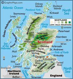 Carte d'Écosse. Scotland map.