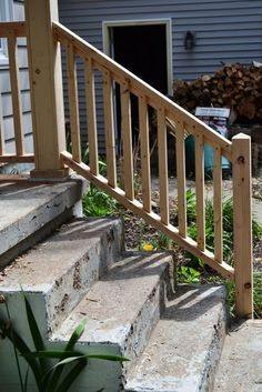 Progress Pics Rail For Concrete Steps Porch Step Railing Stairs Wood