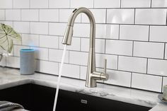 for Smart Home Technology U by Moen Smart Faucet Black Kitchen Faucets, Bathroom Faucets, Kitchen And Bath, Stainless Kitchen, Concrete Bathroom, Kitchen Reno, Stainless Steel, Arlo Und Spot, Touchless Kitchen Faucet