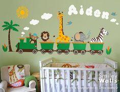Personalized Safari Train Wall Decal Jungle Animals Train Wall Decal Monkey…