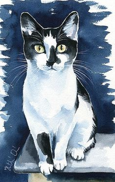 Cats Painting - Jasper Tuxedo Cat Painting By Dora Hathazi Mendes. Watercolor cat art, prints available, open for commission Painting - Jasper Tuxedo Cat Painting By Dora Hathazi Mendes. Watercolor cat art, prints available, open for commissions Animals Watercolor, Watercolor Cat, Watercolor Paintings, Animal Paintings, Animal Drawings, Frida Art, Guache, Cat Drawing, Drawing People