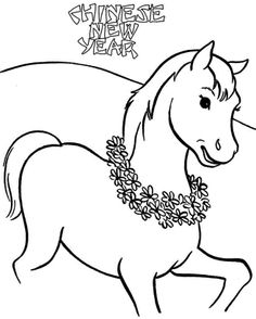 Wooden Horse Chinese New Year 2014 Coloring Sheets Free Printable For Kids Girls