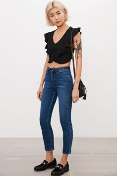 Kimchi Blue Ruffle Cropped Surplice Sweater - Urban Outfitters