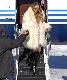 VIP: Mariah Carey arrived in Aspen on Monday morning to the tune of - of course - All I Want For Christmas
