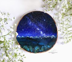 Milky Way Painting on Wood Slice