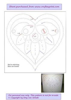 ED055 Valentine heart on Craftsuprint designed by Emy van Schaik - Stitching with beads - Now available for download!