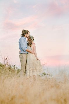 Romantic Engagement shoot with rose flower crown by Love Sparkle Pretty, Free People dress and cotton candy skies. Photography by Kristen Booth https://www.etsy.com/listing/203535884/the-charlotte-flower-crown-created-with