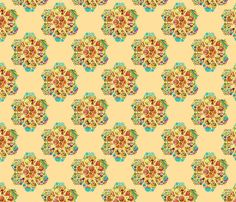 HEXIES ABSTRACT FLOWERS ON CORN YELLOW SPRING SUMMER fabric by paysmage on Spoonflower - custom fabric