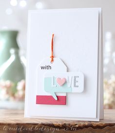 With Love Card » Lime Doodle Design