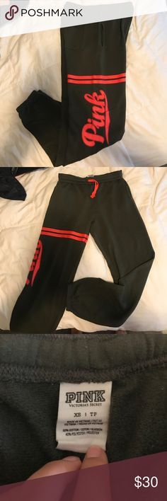 Victoria's Secret Pink Sweats Dark forest green sweats with neon orange detailing. Worn a couple times. Perfect condition. Fits like a S/M PINK Victoria's Secret Pants Track Pants & Joggers