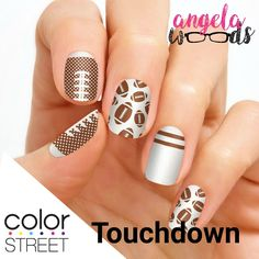Color Street makes it so easy to get a perfect manicure or pedicure. To purchase, visit www.ColorStreetwithAngela.com or click through the picture to join my Facebook page.  Show your spirit with this baseball inspired theme nail on a white shimmer base.  Shimmer finish. Each set includes 16 double-ended nail polish strips.