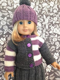 Knitionary: Wee Gingersnap, free knitting pattern for American Girl Doll – American Girl – knit Knitting Dolls Clothes, Crochet Doll Clothes, Doll Clothes Patterns, Girl Doll Clothes, Clothing Patterns, Girl Dolls, Dress Patterns, Dolls Dolls, American Girl Outfits