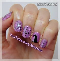 Halloween witch hat nail art video tutorial