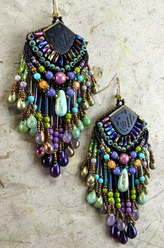 Bead Embroidered Earring ART by Sherry Serafini