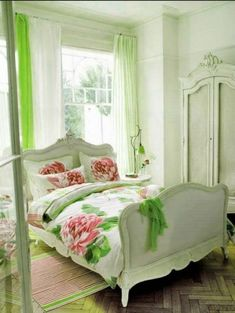 Beautiful bedroom ideas- love the pink and green.Home Decor Ideas - Homebnc