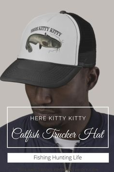 For sophisticated catfish fishermen with a sense of humor. Fishing Humor, Fishing Tips, Mens Fitness, Fitness Apparel, Catfish Fishing, Here Kitty Kitty, Custom Hats, Cats, Funny