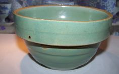 Vintage 5 Inch Banded Earthenware Pottery Mixing Bowl from victoriasjems on Ruby Lane