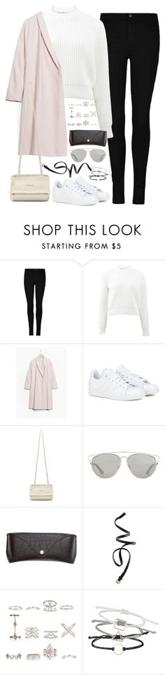 """Untitled#4396"" by fashionnfacts ❤ liked on Polyvore featuring T By Alexander Wang, adidas, Givenchy, Christian Dior, H&M, New Look and Topshop"