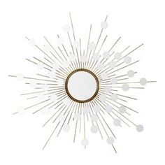 Make a stylish statement in your décor with the gorgeous Reflections Mirror. This radiant round wall mirror brightens up your space, while its gold finish frame showcases a sunburst design with small round mirrors for a truly dazzling look. Sun Mirror, Round Wall Mirror, Wall Mounted Mirror, Mirror Art, Mirror Glass, Mirror Hanging, Convex Mirror, Mirror Ideas, Decor Interior Design
