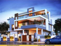 Modern home design Modern Bungalow Exterior, Modern Exterior House Designs, Modern House Facades, Unique House Design, House Front Design, Modern Architecture House, House Plans Mansion, Indian House Plans, Bungalow House Design