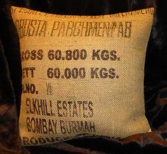 """Kissenbezüge - Kaffeesackbezug """"Robusta"""", ca.50 x 50 cm - ein Designerstück von vansten-design bei DaWanda"""