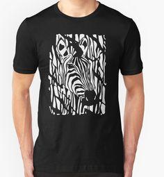 'Zebra Project No.1'- big logo white print by A Hogan on Redbubble. #tees #redbubble #blackandwhite #tops #zebra #wildlife #africa #stripes #safari #tshirts #wild #animals #zoo #nagohnala #art #prints #sales