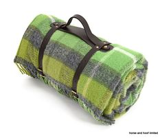 Tweedmill Polo Pure New Wool Picnic Rug With Waterproof Backing Green Grey Check Olive