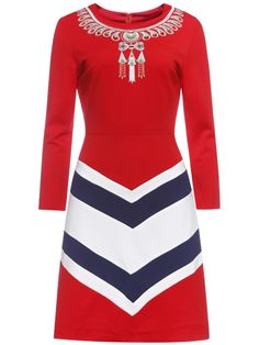 Image of Red Embroidered Chevron Print Sheath Dress