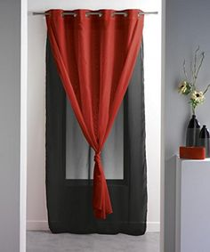 Double Layered Sheer Curtain Panel Grommet ROBIN Solid Twocolored 55W x 95L RedBlack * Be sure to check out this awesome product.