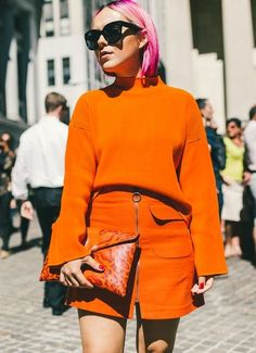 Bold color & bold hair. // The Best Street Style Inspiration From New York Fashion Week: (http://www.racked.com/2015/9/11/9309889/nyfw-street-style#4834070)