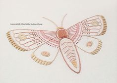 Anatomical Moth hand embroidery pattern by KFNeedleworkDesign
