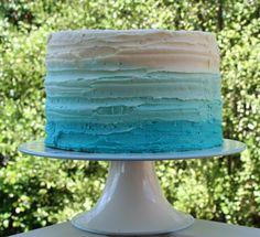 Blue ombre buttercream cake - choc orange cake with white chocolate and orange buttercream