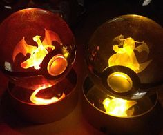 Get a glimpse into the innards of what a pokeball really looks like by getting your hands on one of these crystal engraved pokeballs. The laser etched crystal ball showcases a miniature Pokemon that colorfully comes alive once the LED is turned on.