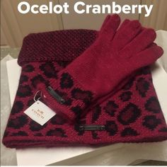 NWT Coach infinity Scarf & Touch Gloves Set Simply Stunning!!!  Scarf is reversible with snake print on opposite side. The matching gloves has the touch feature for phone use. Color is Cranberry. Only selling as a set. Scarf retails for $175 and Gloves $80. Angora Rabbit Hair 67%, 30% Nylon, and 1% other (beautiful metallic threading) nice little bling affect. Coach leather logo plates on both scarf and glove. Beautiful set comes had pictured with Coach gift box and wrapped in Coach tissue…