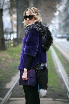 I wear fur coat mink fox Samantha De Reviziis, bow Radà, Skirt ( my creation ) , Zara Shoes and sunglasses Dolce & Gabbana.  #fur #furlovers #ladyfur #milan #street #coat #style #fashion #blog #welovefur #leather #skirt #coat #zara #totallook #look #fashionblog #ears #dress #jacket #shoes #dolceegabbana #fox #samanthadereviziis #tram #city #chic