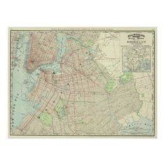 This is a vintage map of New York City and Brooklyn produced in 1897.