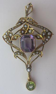 Edwardian 9ct gold, Pearl, Amethyst & Peridot Suffragette pendant/brooch