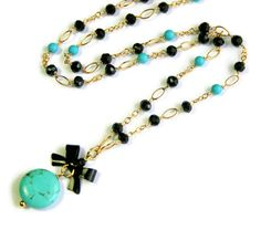 Turquoise Howlite Necklace, Black Bow, Spinel, Gold Fill Necklace, Black Blue Necklace