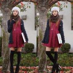 H&M Knit Oatmeal Beret, Nordstrom Brown Cashmere Scarf, Forever 21 Burgundy Lace Dress, Hollister Oxford Blue Chunky Knit Cardigan, Tea Cup Castle Heart Charm Necklace
