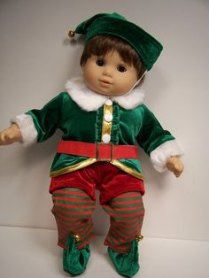 6pc Christmas or Halloween Elf Costume Doll Clothes for Bitty Baby Boy Twin♥ | eBay