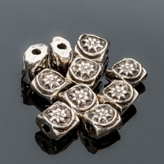 10 Cast metal 6mm square ornate pillow beads, pewter