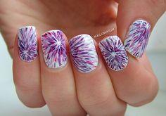 22 Purple Nails - An interesting tie dye effect.